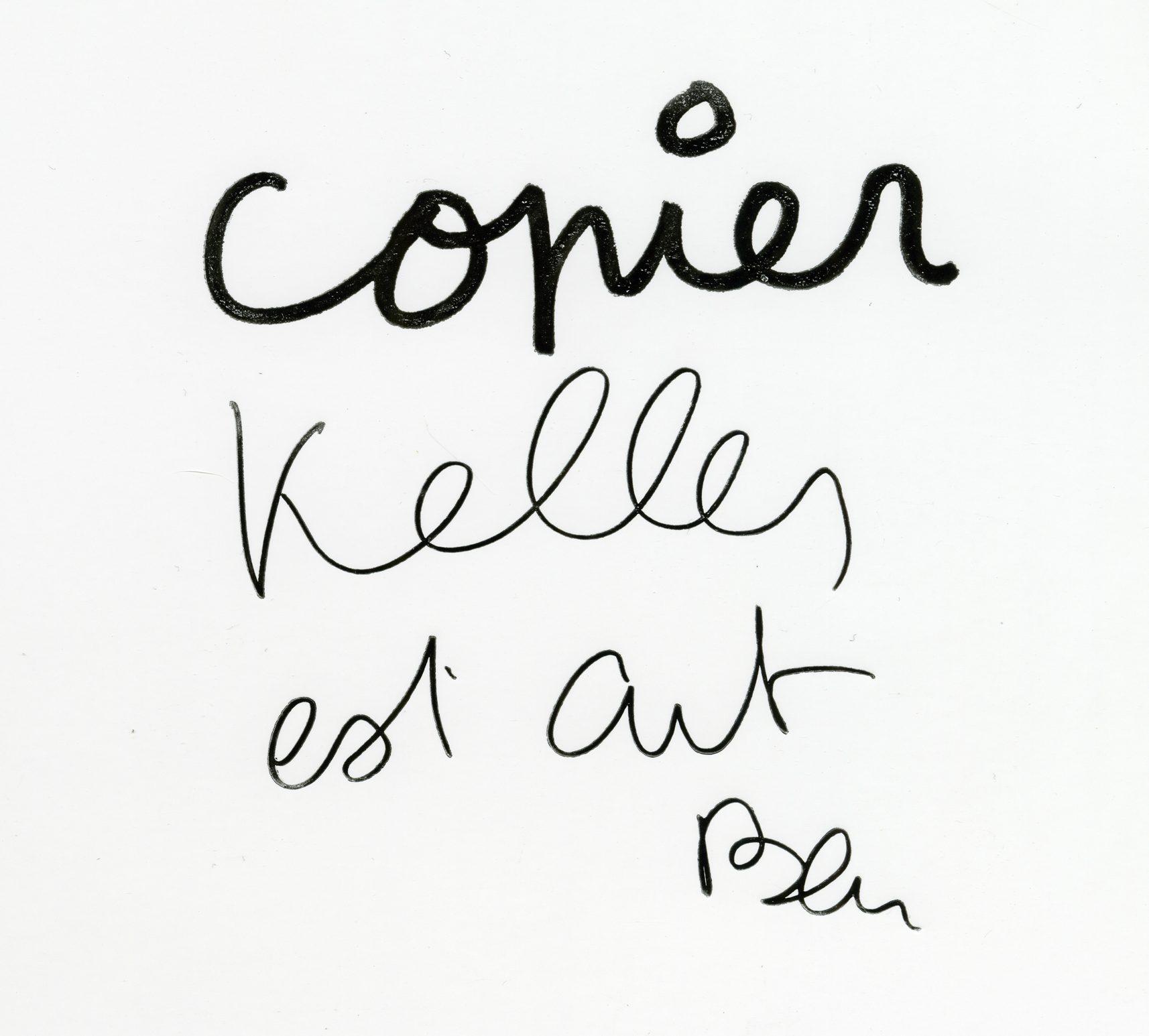 Ben Vautier. Copier, 1996. Livre dédicacé, collection Pierre Keller
