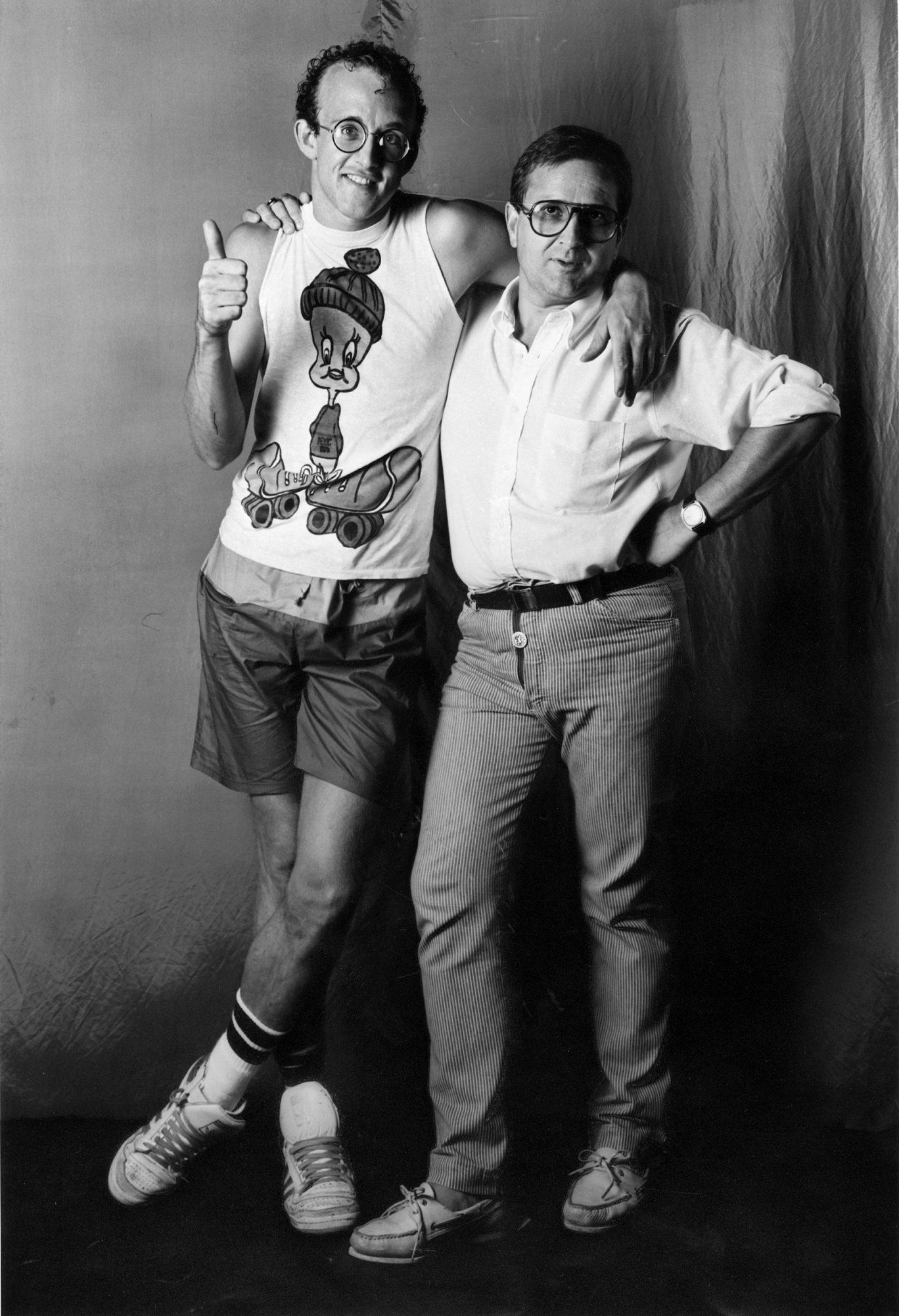 Keith Haring et Pierre Keller, Montreux Jazz Festival 1983, photographie de Jacques Straesslé